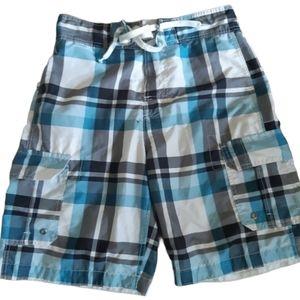 None | blue gingham sport swim shorts
